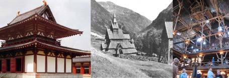 a buddhist temple in china, a stavekirke in norway, and the old faithful inn lobby